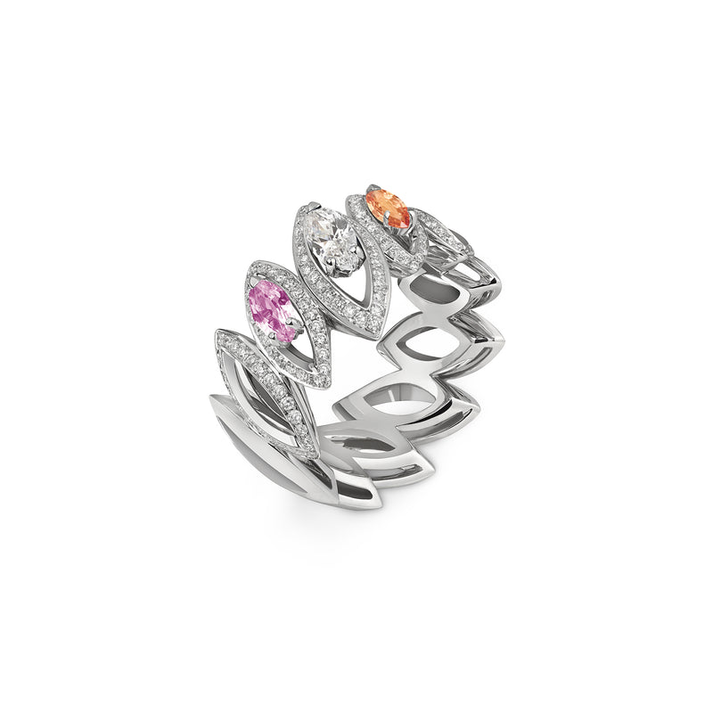 Petali Trilogy Double Multicoloured Sapphire and Diamond Ring