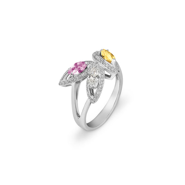 Petali Flora Ring with Multicoloured Sapphire and Diamond
