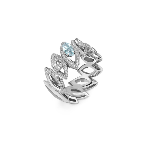 Petali Trilogy Double Diamond and Aquamarine Ring
