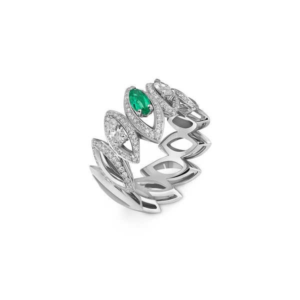 Petali Trilogy Double Diamond and Emerald Ring