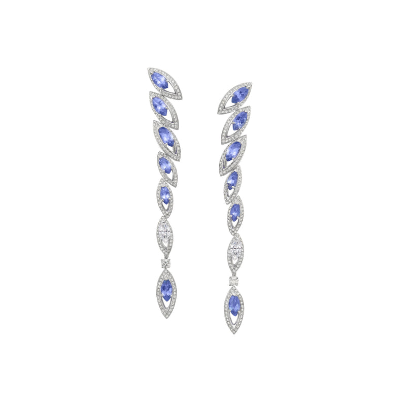 Petali Tanzanite and Diamond Drop Earrings