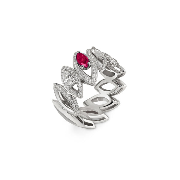 Petali Trilogy Double Diamond and Ruby Ring