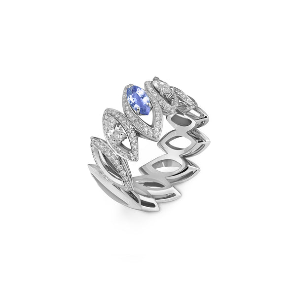 Petali Trilogy Double Diamond and Tanzanite Ring