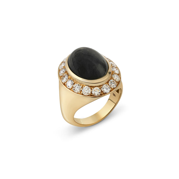 Pinky Onyx and Diamond Yellow Gold Ring