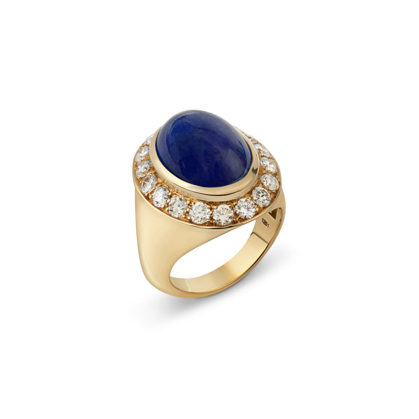 Pinky Blue Sapphire and Diamond Yellow Gold Ring