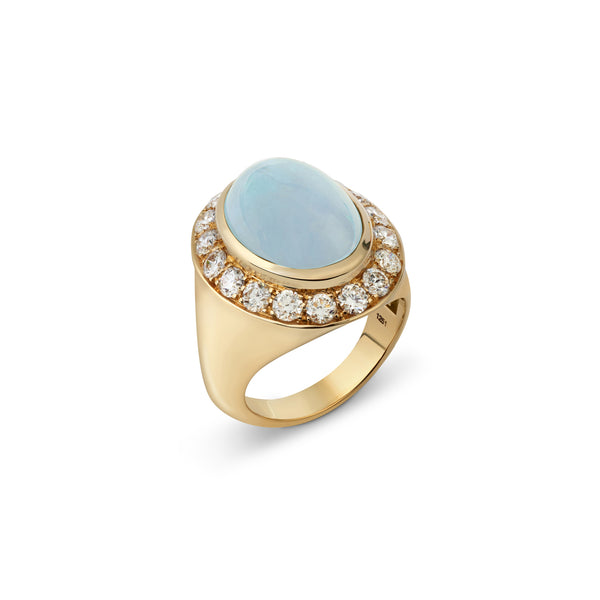 Pinky Moonstone and Diamond Yellow Gold Ring