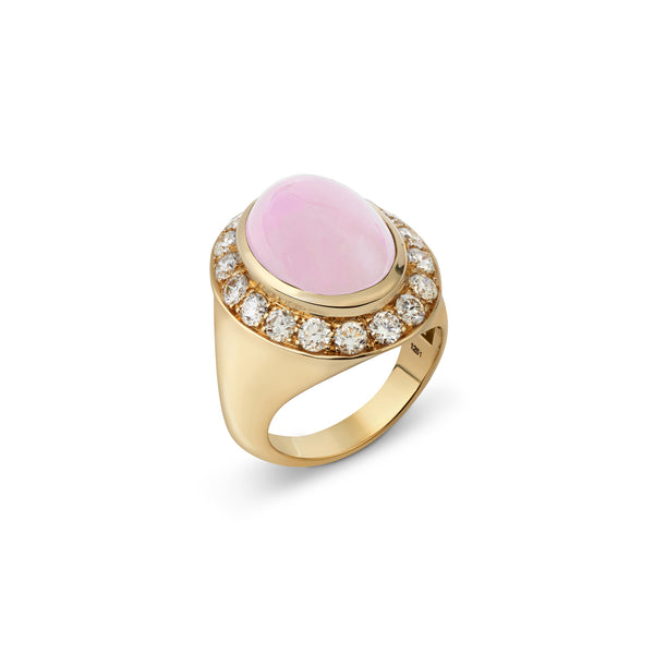 Pinky Pink Opal and Diamond Yellow Gold Ring
