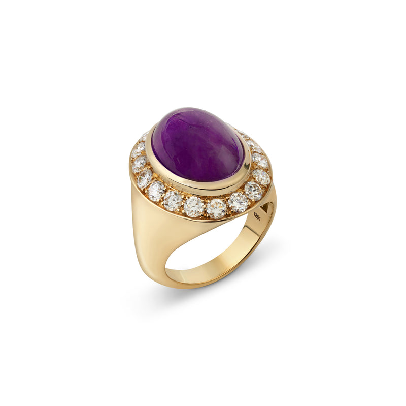 Pinky Amethyst and Diamond Yellow Gold Ring