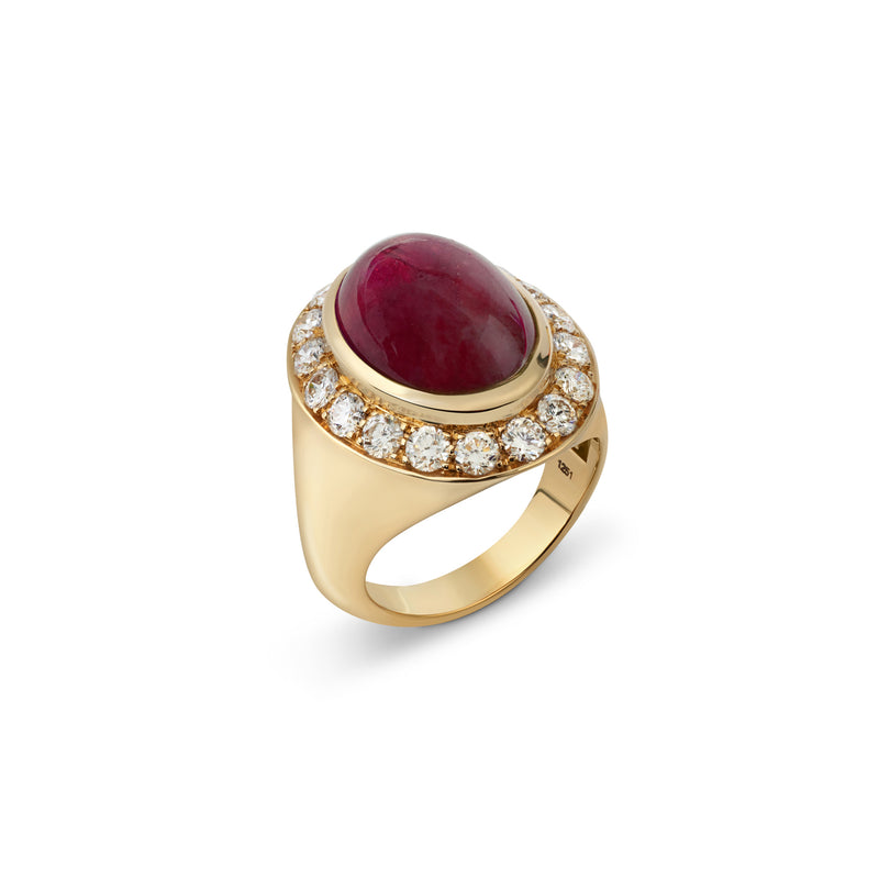 Pinky Garnet and Diamond Yellow Gold Ring