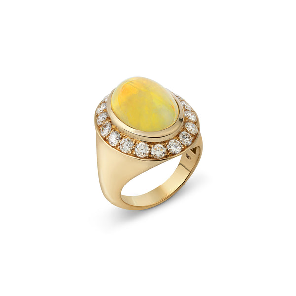 Pinky Yellow Opal and Diamond Yellow Gold Ring