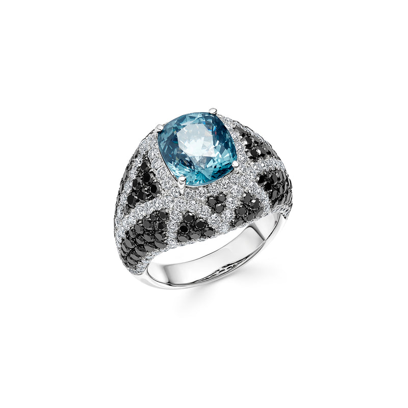 Signature Blue Spinel Ring with Diamonds