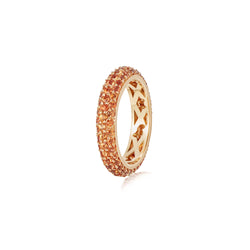 Starlight Three Row Orange Sapphire Yellow Gold Ring