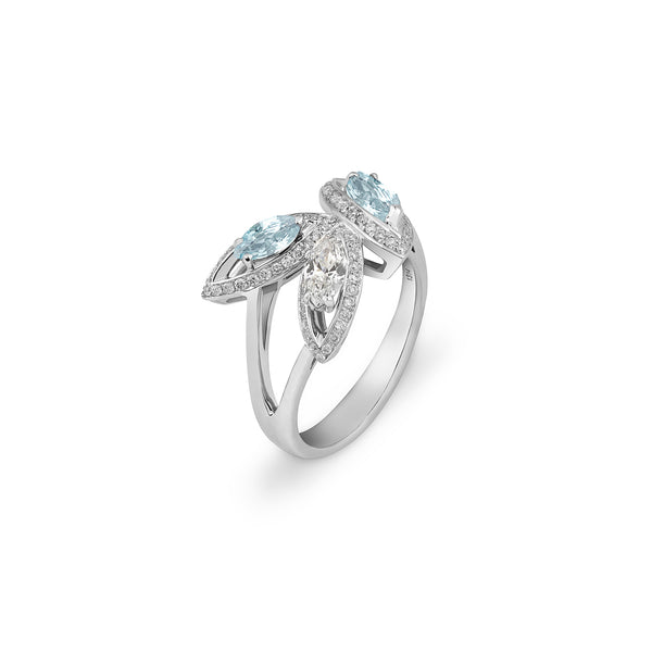Petali Flora Ring with Aquamarine and Diamond
