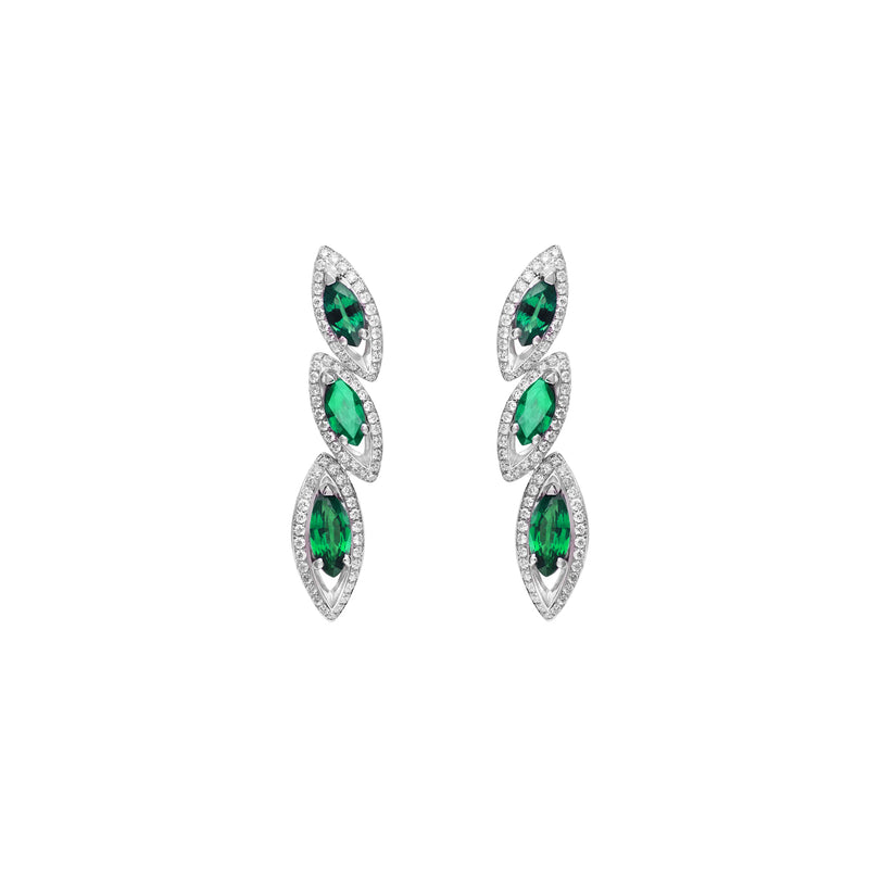 Petali Emerald Trilogy Earrings