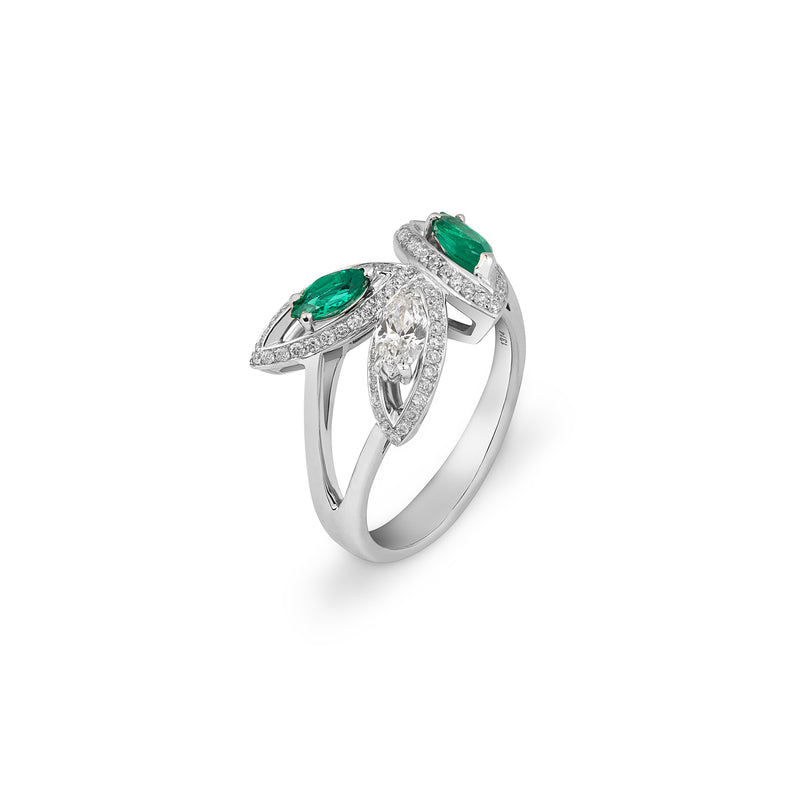 Petali Flora Ring with Emerald and Diamond