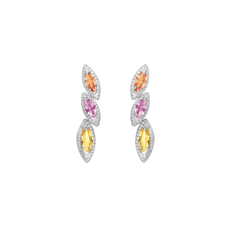 Petali Multicoloured Sapphire Trilogy Earrings
