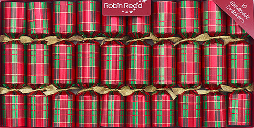 "10 X 8.5"" Handmade English Christmas Crackers By Robin Reed - Traditional Plaid - 41205"