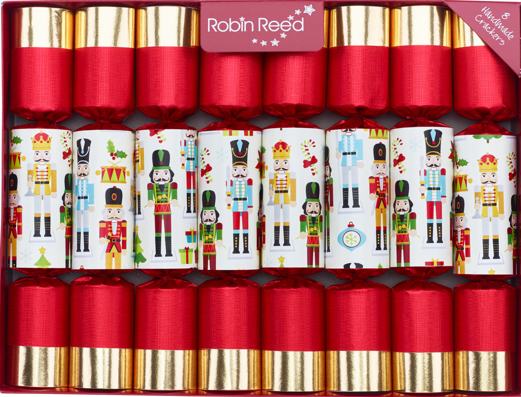 "8 X 10"" English Christmas Crackers By Robin Reed - Red Gold Nutcrackers - 51822"