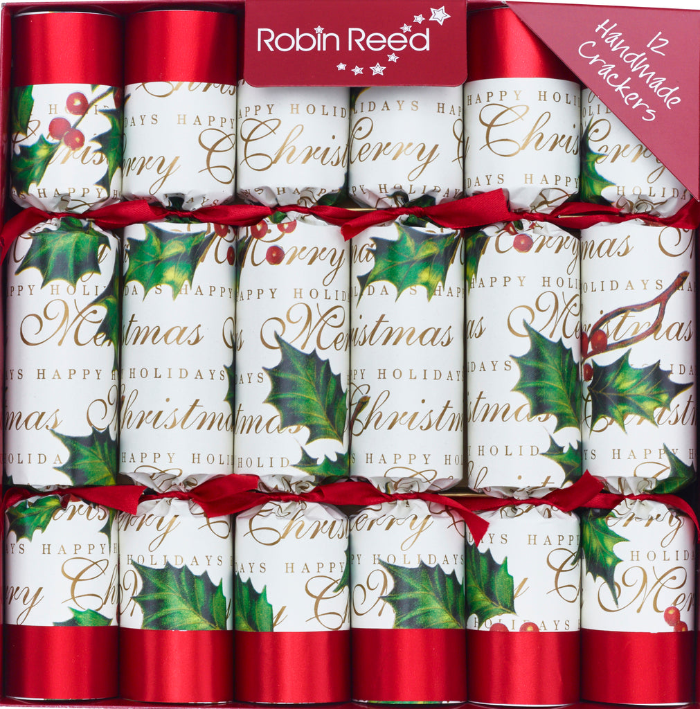 "12 x 10"" Handmade English Christmas Crackers by Robin Reed - bows berries - 528"