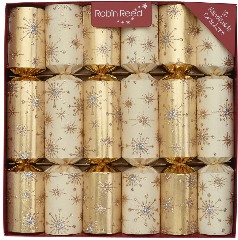 "6 x 12"" Handmade English Christmas Crackers by Robin Reed - glitter star bursts - 61927"