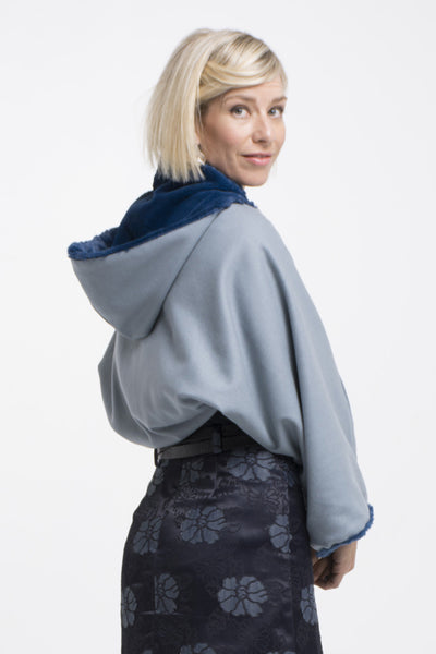 Vesta Wool and Fur Shrug - Ice Blue