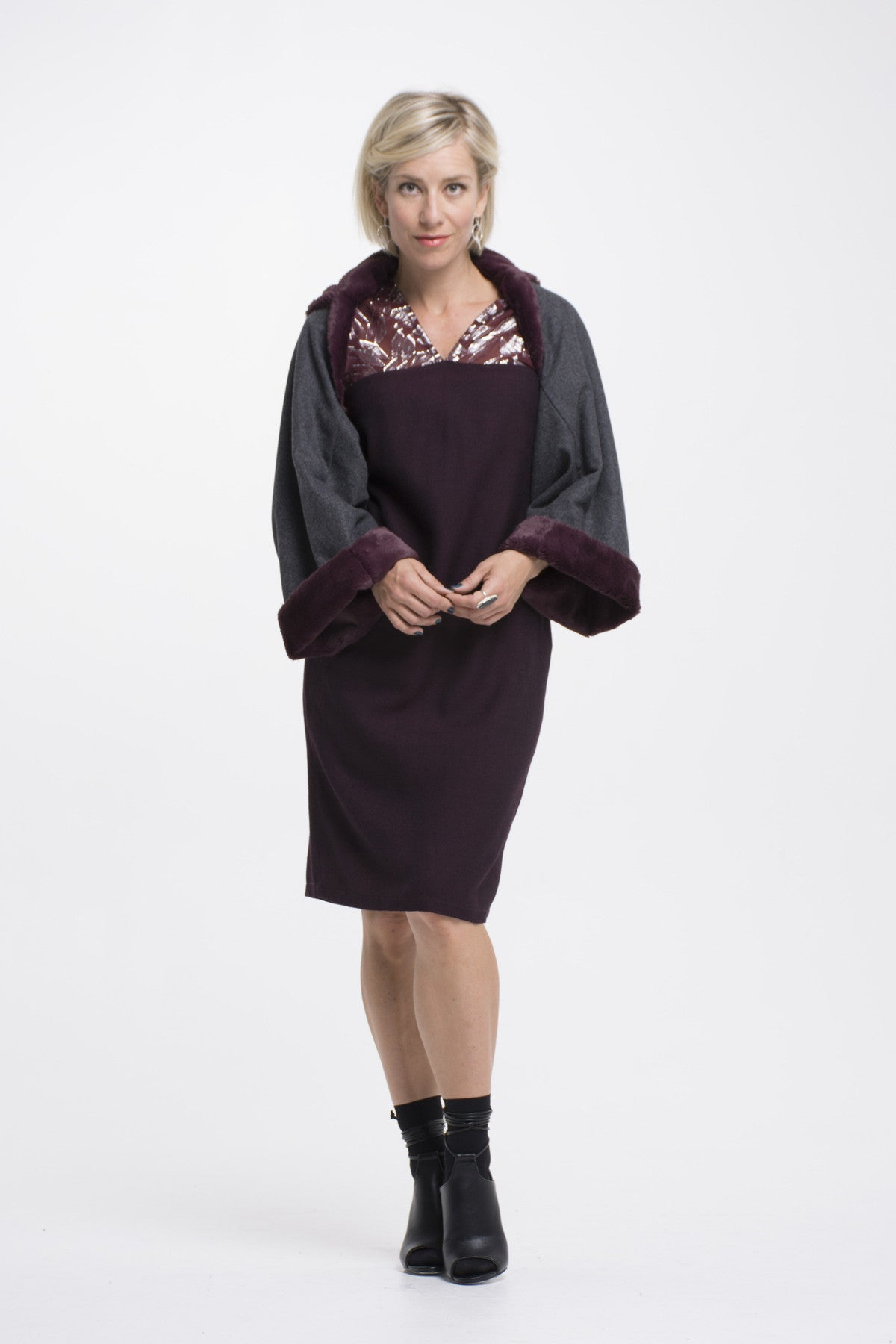 Vesta Wool and Fur Shrug - Steel Berry