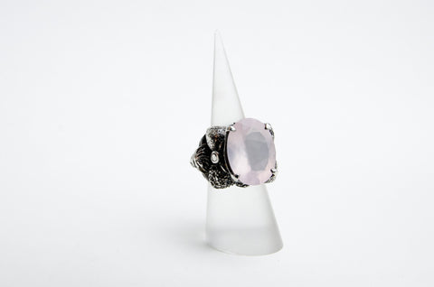 Meve Cerfancy Sterling Silver Darkened with Rose Quartz Ring
