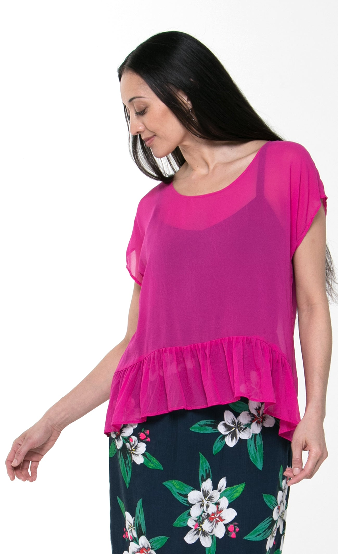 Juna Silk Frill Top - Fuschia