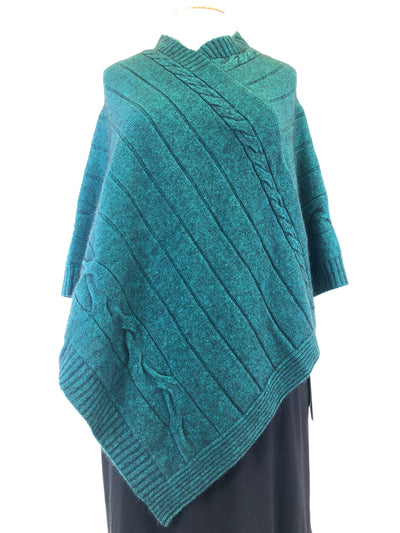 Noble Wilde Cable Poncho - Paua