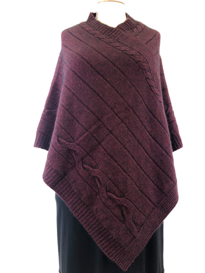 Noble Wilde Cable Poncho - Port