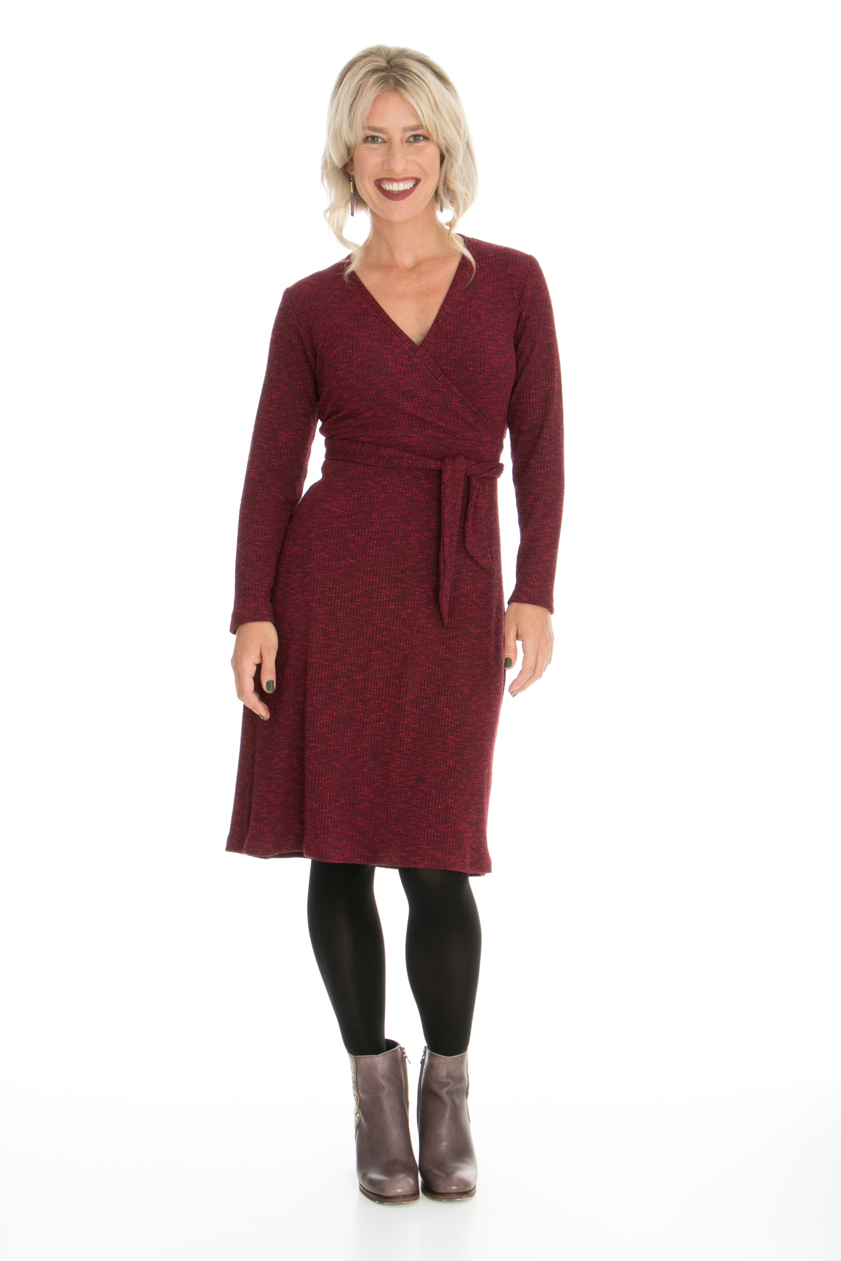 Vesta Faux Wrap Dress - Rouge Lurex Knit was $228 now $198