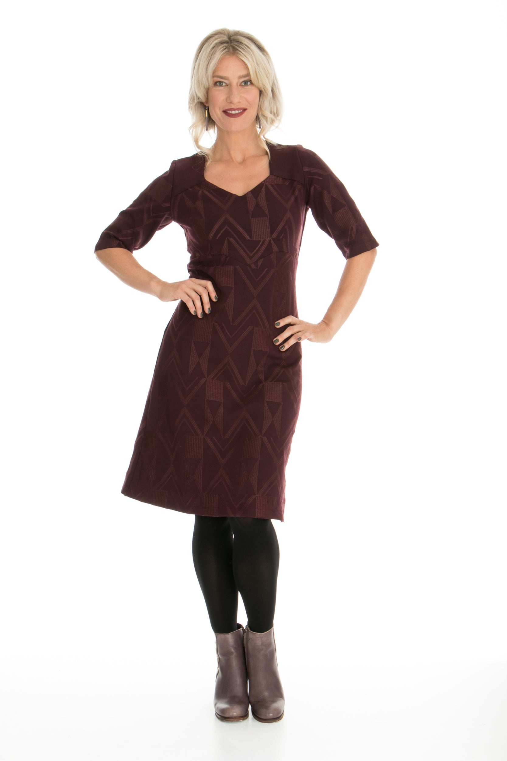 Vesta Astro Dress- Wine Stitched Ponti was $248 now $218