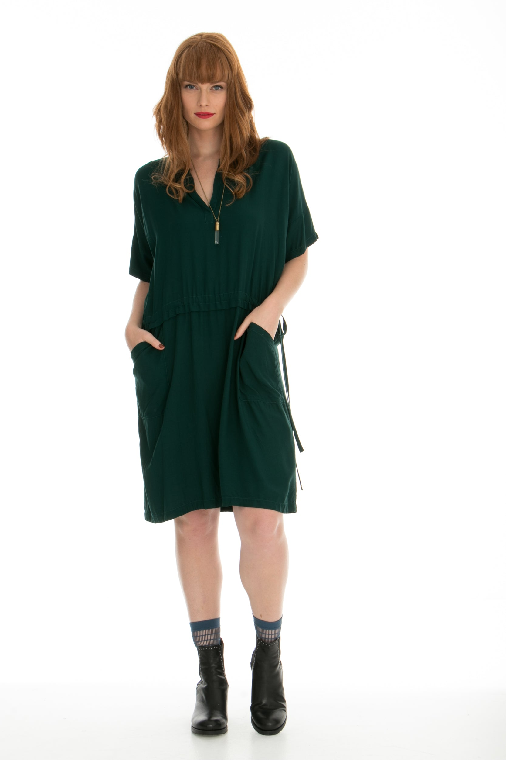 Juna Polo Drawstring Dress - Black