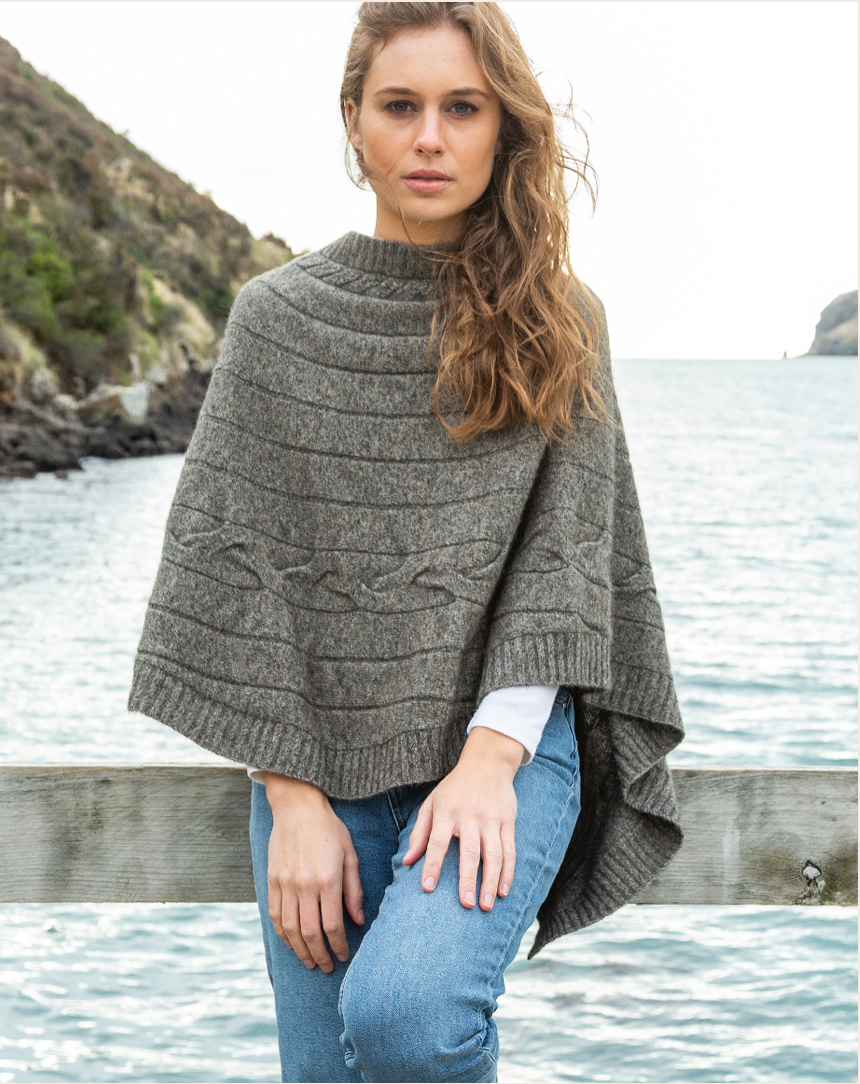 Cable Poncho - Possum/Merino