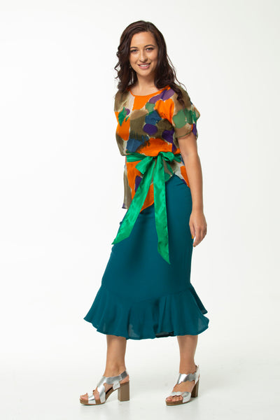 Vesta Flamenco Skirt - Jade Blue was $188 now $148