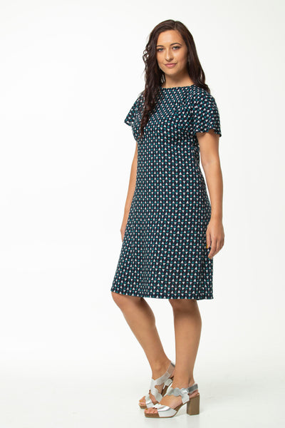Vesta Fantail Dress - Starry Night