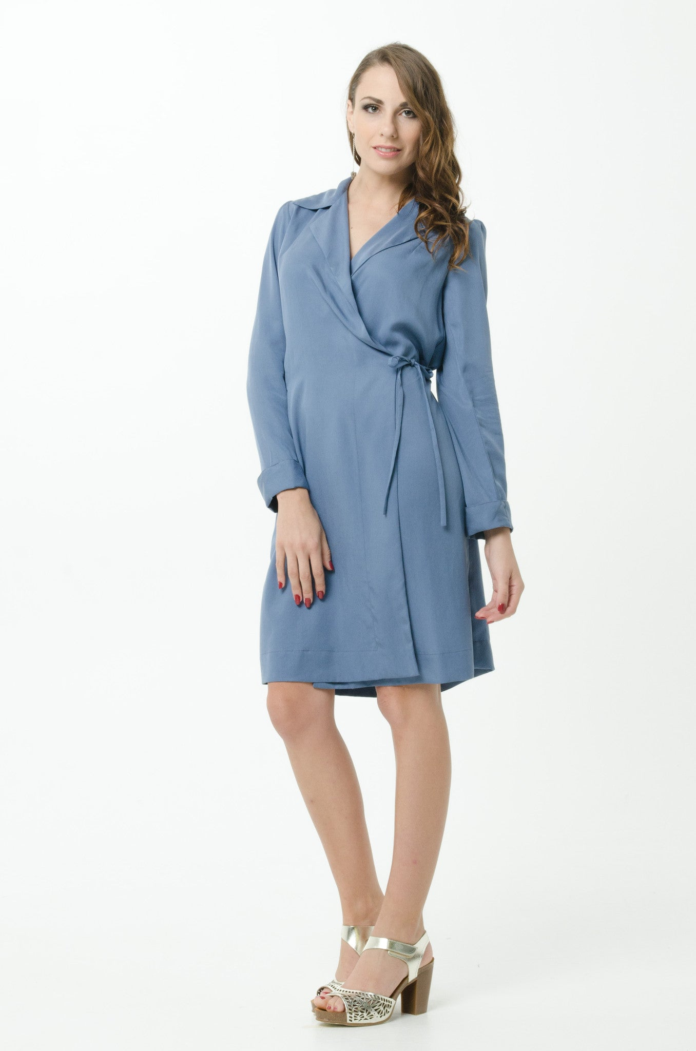 Vesta Wrap Coat Dress - Denim was $268 now $198