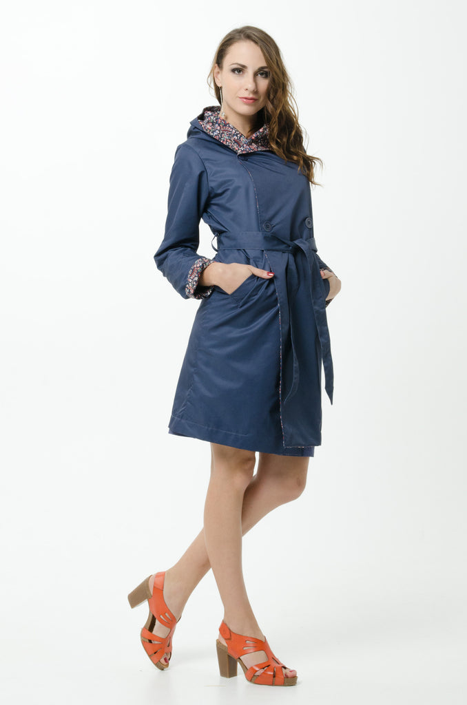 compare price quality first picked up Vesta Summer Raincoat - Navy and Fleur | Moa Grey Lynn