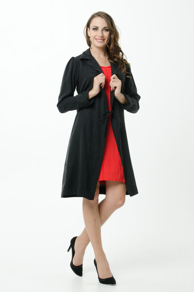 Vesta Wrap Coat Dress - Black was $268 now $198