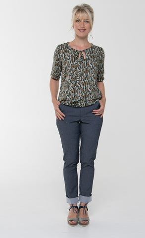 Vesta Tie Top - Sage Cat