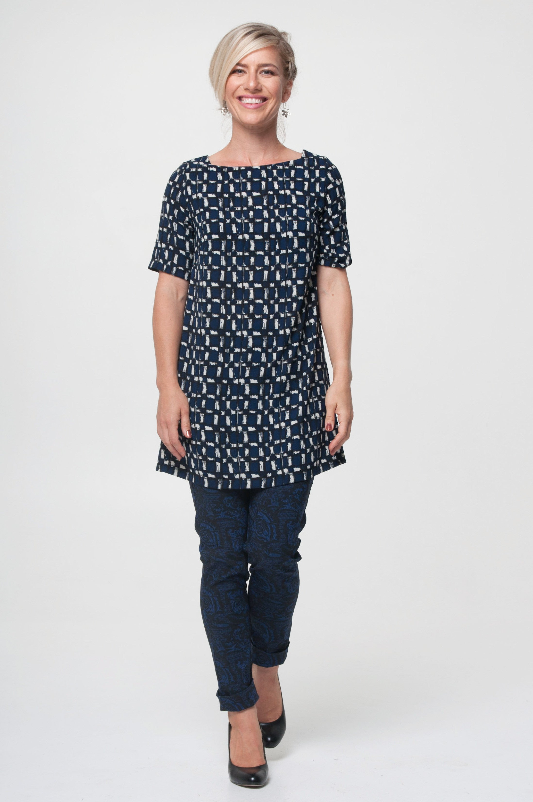 Vesta Egyptian Top - Blue Check was $178 now $158