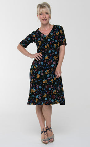 Vesta V Collar Dress - Flora