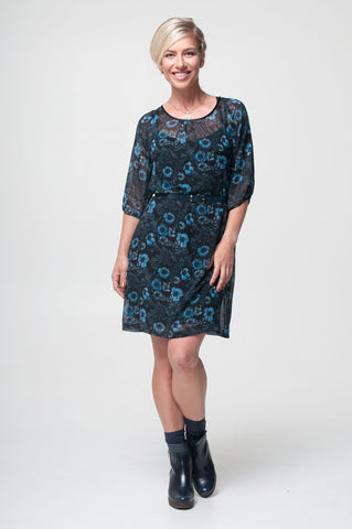 Vesta  Raglan Tunic Dress - Cornflower
