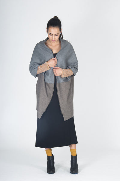 Juna D'Arcy Cape Coat - Ash / Rabbit