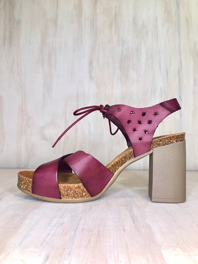Yokono Lace up Sandal in Bordo Red