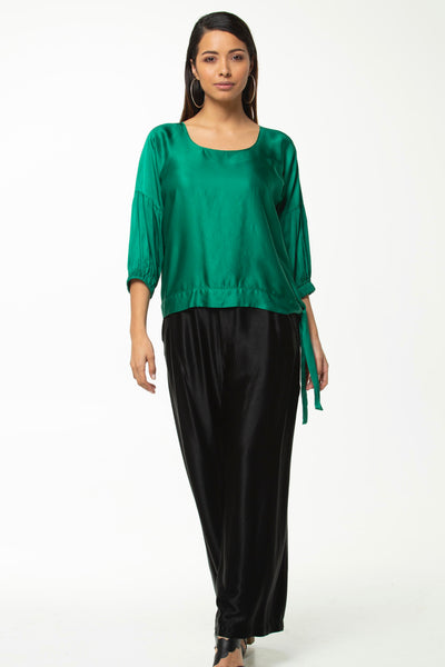 Juna Sash Demelza Top- Emerald Satin