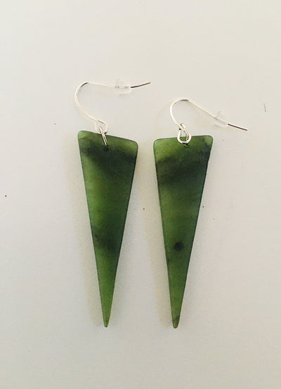 Pounamu (green stone) Earrings Triangle