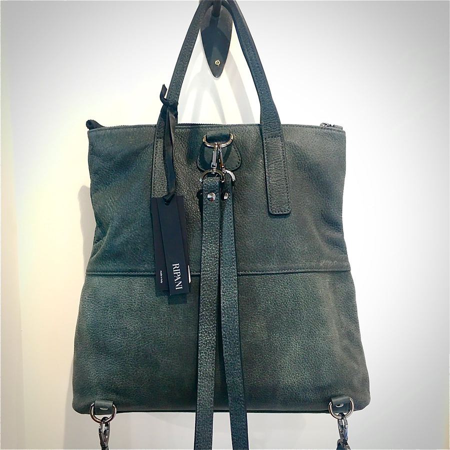 Italian leather Back Pack - Moss