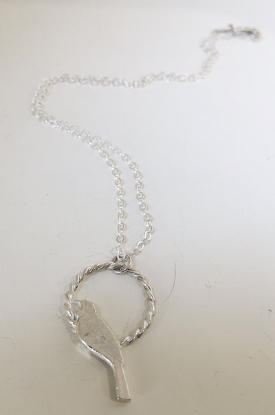 Tui on a Hoop Pendant in Sterling Silver - Sterling Silver Chain