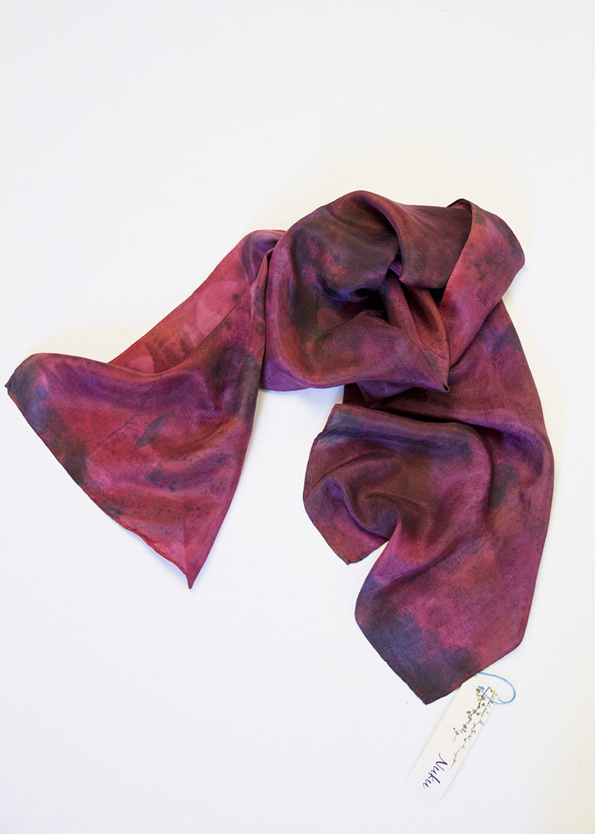 NUKU Silk Scarf - Fern, metal, madder and indigo on silk.